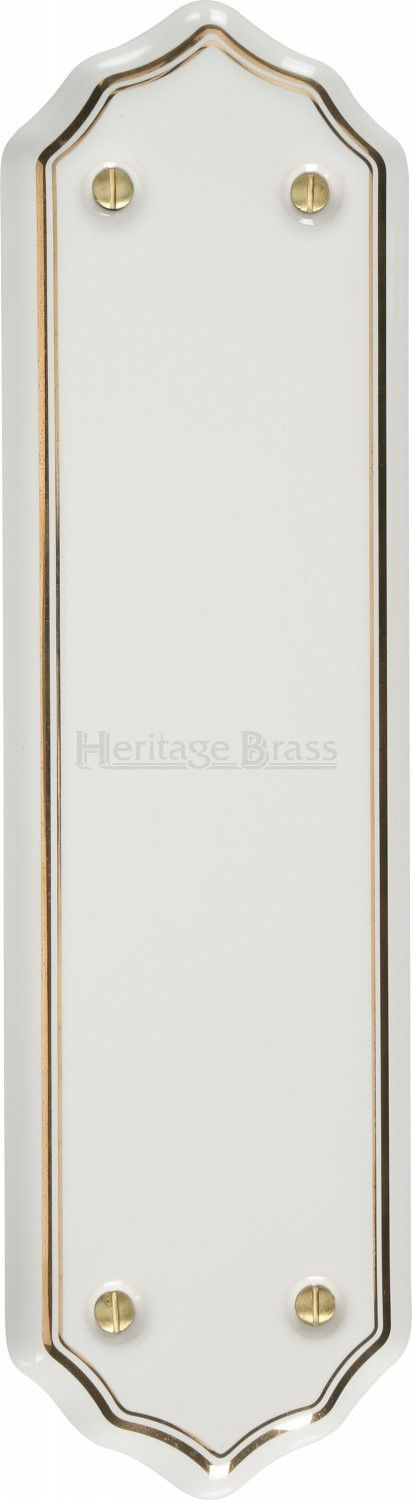 M Marcus Heritage Brass 6000 Porcelain Shaped Finger Plate White/Gold Line