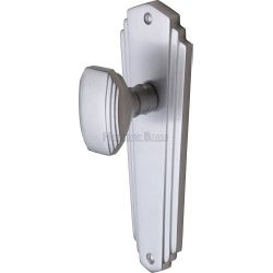 M Marcus Heritage Brass CHA1910SC Charlston Mortice Knob On Latch Backplate Satin Chrome