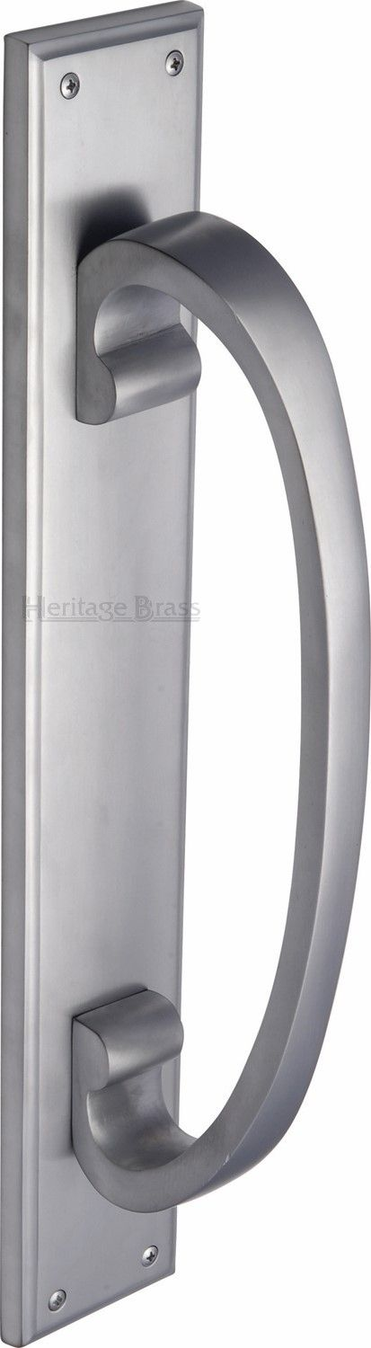 M Marcus Heritage Brass V1162SC Pull Handle On Plate Satin Chrome