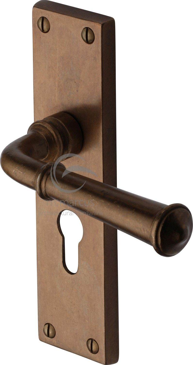 Picture of: M Marcus Solid Bronze Rustic Rbl3748 Ashfield Door Handle On Euro Profile Backplate Real Bronze