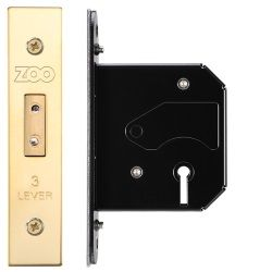 Zoo Hardware ZURD364PVD 3 Lever Replacement Deadlock 64mm PVD Brass